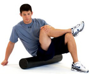 Piriformis stretch foam roller