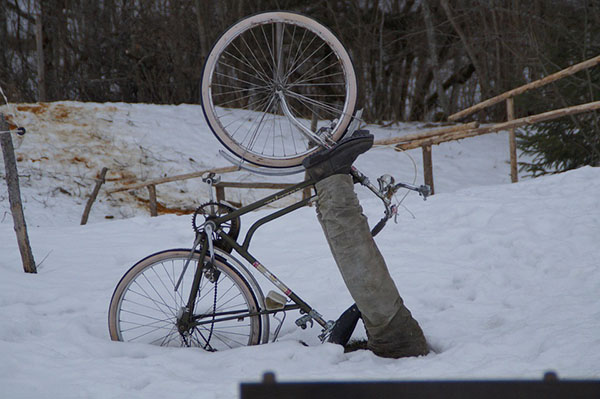 bike accident in snow